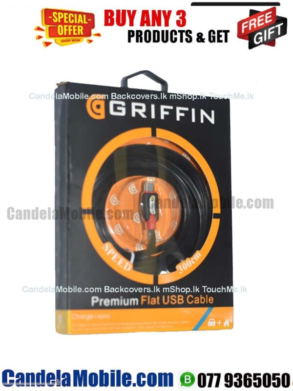 GRIFFIN Premium Flat Micro USB Charging Data Cable-3M
