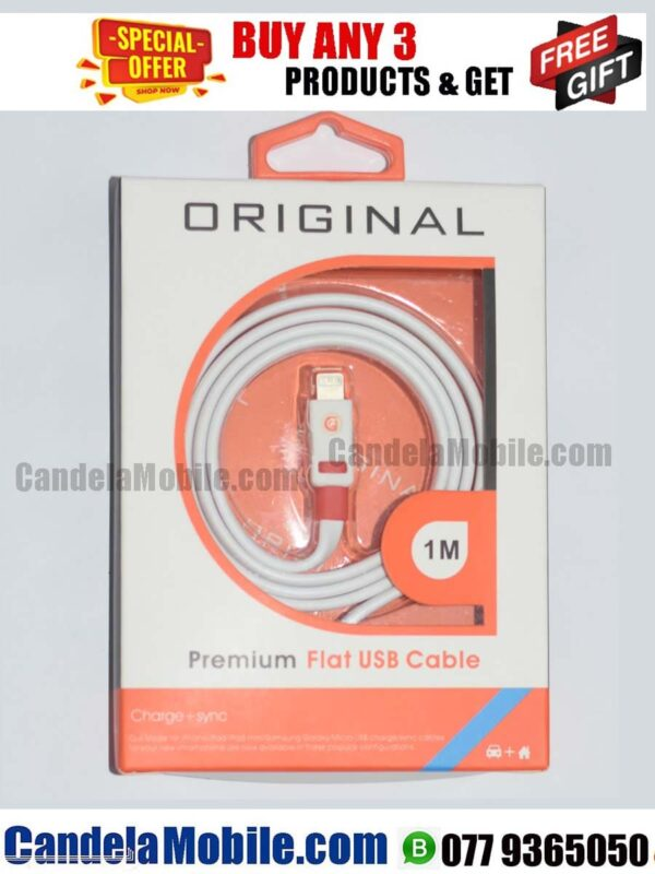 Premium Flat iPhone Data Cable Fast Charging lightning Cable-1M