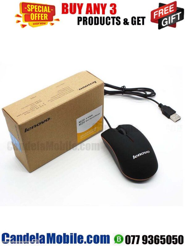 Lenovo M20 USB Wired Optical Mouse