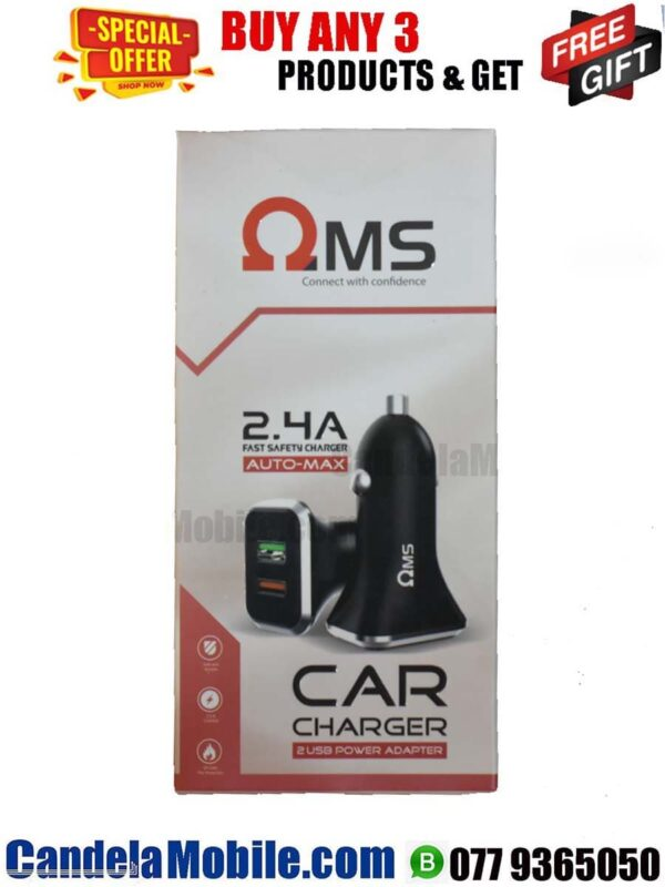 OMS 2.4A USB Vehicle Phone Charger-(OM-210)